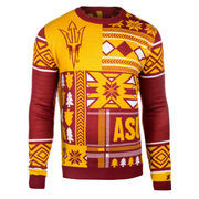 Men's Maroon Arizona State Sun Devils Patches Ugly Sweater
