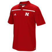 Men's adidas Red Nebraska Cornhuskers 2015 Coaches Sideline Climalite Polo