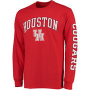 Men's Red Houston Cougars Distressed Arch Over Logo Long Sleeve Hit T-Shirt