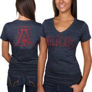 Arizona Wildcats Women's Slab Serif Tri-Blend V-Neck T-Shirt - Navy Blue