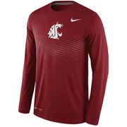 Men's Nike Crimson Washington State Cougars 2015 Sideline Dri-FIT Legend Long Sleeve Performance T-Shirt