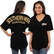 Women's Black Southern Miss Golden Eagles Short Sleeve Spirit Jersey V-Neck Top