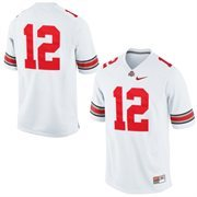 Mens Ohio State Buckeyes Nike White #12 Game Football Jersey