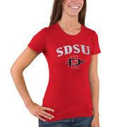 Women's New Agenda Heathered Red San Diego State Aztecs Big Arch & Logo Ring Spun T-Shirt