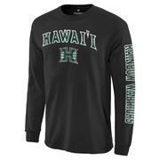 Men's Black Hawaii Warriors Distressed Arch Over Logo Long Sleeve Hit T-Shirt