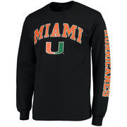 Men's Fanatics Branded Black Miami Hurricanes Distressed Arch Over Logo Long Sleeve Hit T-Shirt