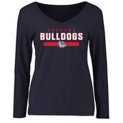 Women's Navy Gonzaga Bulldogs Team Strong Long Sleeve Slim Fit T-Shirt