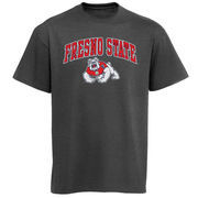 Mens Charcoal Fresno State Bulldogs Arch Over Logo T-Shirt