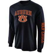 Mens Auburn Tigers Navy Blue Arch & Logo Long Sleeve T-Shirt
