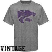Kansas State Wildcats Distressed Big Logo Ring Spun T-Shirt - Gray