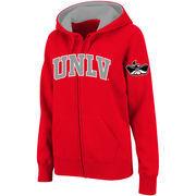 Women's Stadium Athletic Red UNLV Rebels Arched Name Full-Zip Hoodie