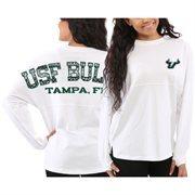 Women's South Florida Bulls White Aztec Sweeper Long Sleeve Oversized Top