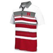 Men's adidas Gray/Scarlet Nebraska Cornhuskers Golf Sport Stripe Polo