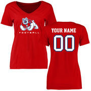 Women's Red Fresno State Bulldogs Personalized Football Slim Fit T-Shirt
