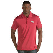 Men's Antigua Red Houston Cougars Quest Stripe Jersey Polo