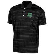 Mens Marshall Thundering Herd Black Textured Stripe Alumni Polo