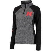 Women's Gray/Black Nebraska Cornhuskers Finalist Quarter-Zip Pullover Jacket