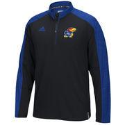 Men's adidas Black Kansas Jayhawks Football Coaches Quarter-Zip Jacket