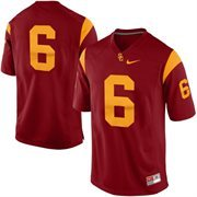 Mens USC Trojans No. 6 Nike Red Game Football Jersey
