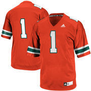 Men's adidas #1 Orange Miami Hurricanes Throwback Replica Football Jersey
