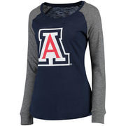 Women's Navy/Gray Arizona Wildcats Preppy Elbow Patch Slub Long Sleeve T-Shirt