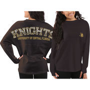 Women's UCF Knights Charcoal Aztec Sweeper Long Sleeve Oversized Top
