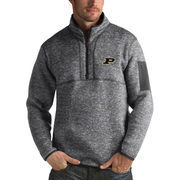 Men's Antigua Heathered Charcoal Purdue Boilermakers Fortune 1/2-Zip Pullover Sweater