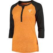 Women's Colosseum Tennessee Orange Tennessee Volunteers Split 3/4-Sleeve Raglan Henley T-Shirt