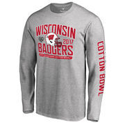 Men's Fanatics Branded Heather Gray Wisconsin Badgers 2017 Cotton Bowl Bound Playbook Long Sleeve T-Shirt