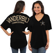 Women's Black Vanderbilt Commodores Oversized Short Sleeve Spirit Jersey V-Neck Top