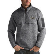 Men's Antigua Heathered Charcoal Pitt Panthers Fortune 1/2-Zip Pullover Sweater