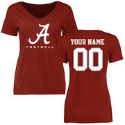 Women's Crimson Alabama Crimson Tide Personalized Football Slim Fit T-Shirt
