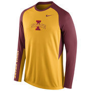 Nike Gold Iowa State Cyclones 2015-2016 Elite Basketball Pre-Game Shootaround Long Sleeve Dri-FIT Top
