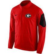 Men's Nike Red Georgia Bulldogs 2015 Coaches Sideline Alpha Fly Rush 1/4 Zip Performance Jacket
