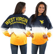 Women's Navy West Virginia Mountaineers Ombre Long Sleeve Dip-Dyed Spirit Jersey