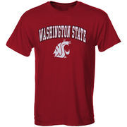Mens Crimson Washington State Cougars Arch Over Logo T-Shirt