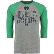 Men's Under Armour Gray Notre Dame Fighting Irish Baseball Tri-Blend Three-Quarter Sleeve Performance T-Shirt