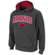 Men's Stadium Athletic Charcoal Arkansas Razorbacks Arch & Logo Pullover Hoodie
