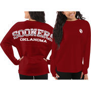 Women's Oklahoma Sooners Red Aztec Sweeper Long Sleeve Oversized Top