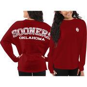 Women's Oklahoma Sooners Red Aztec Sweeper Long Sleeve Oversized Top
