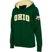 Women's Stadium Athletic Green Ohio Bobcats Arched Name Full-Zip Hoodie