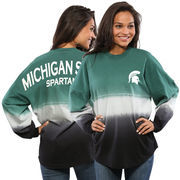 Women's Green Michigan State Spartans Ombre Long Sleeve Dip-Dyed Spirit Jersey