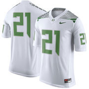 Men's Nike White Oregon Ducks #21 Limited Football Jersey