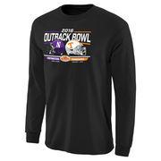 Men's Black Northwestern Wildcats vs. Tennessee Volunteers 2016 Outback Bowl Bound Rundown Long Sleeve T-Shirt