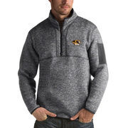 Men's Antigua Heathered Charcoal Missouri Tigers Fortune 1/2-Zip Pullover Sweater