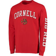 Men's Red Cornell Big Red Distressed Arch Over Logo Long Sleeve Hit T-Shirt