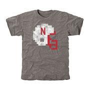 Men's Gray Nebraska Cornhuskers 8-Bit Helmet Tri-Blend Short Sleeve T-Shirt