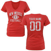 Women's Red New Mexico Lobos Personalized Distressed Football Tri-Blend V-Neck T-Shirt