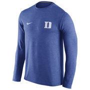Men's Nike Heathered Royal Duke Blue Devils Touch Performance Long Sleeve T-Shirt