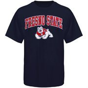 Mens Navy Blue Fresno State Bulldogs Arch Over Logo T-Shirt
